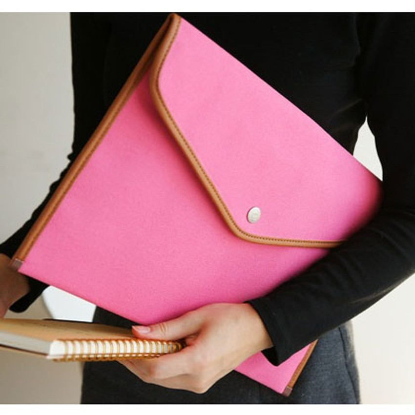 A4 canvas pouch - pink