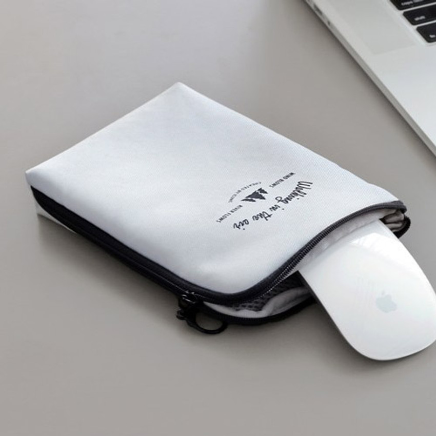 Gray - Walking in the air medium cable pouch