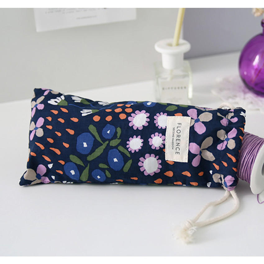 Indigo - Florence pattern small drawstring pouch