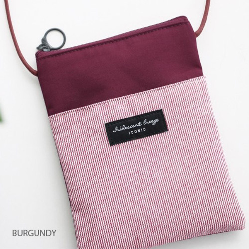 Burgundy - Comely pattern small crossbody bag