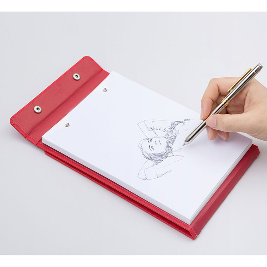 Red - Simple and basic premium A5 drawing paper pad