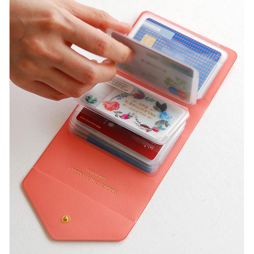 Coral pink - Select pocket card case holder