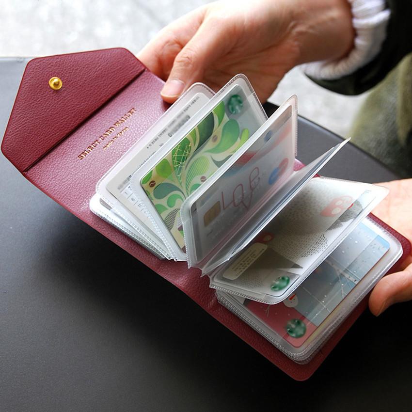 Burgundy - Select pocket card case holder