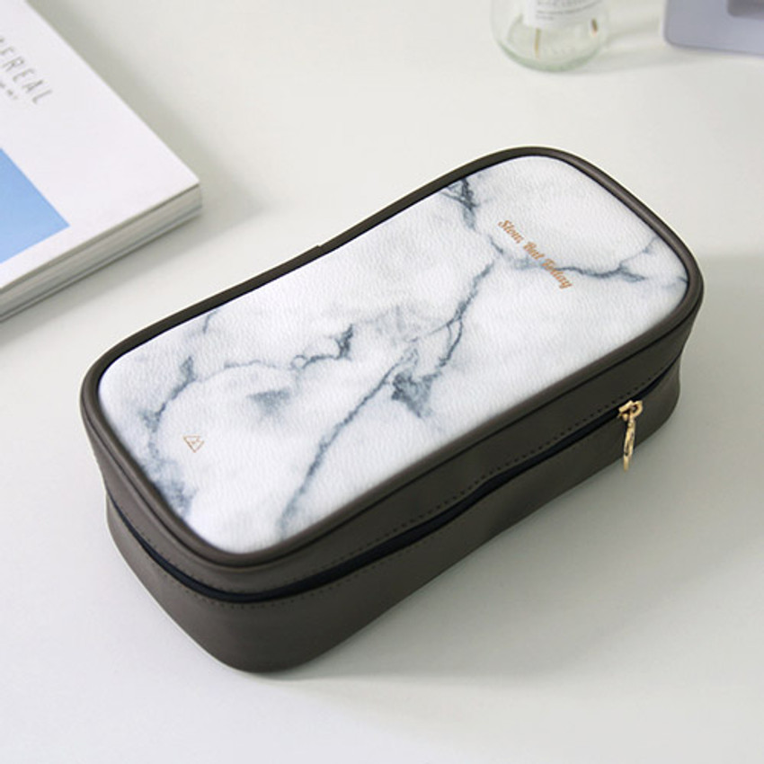 White marble - But today makeup pouch bag