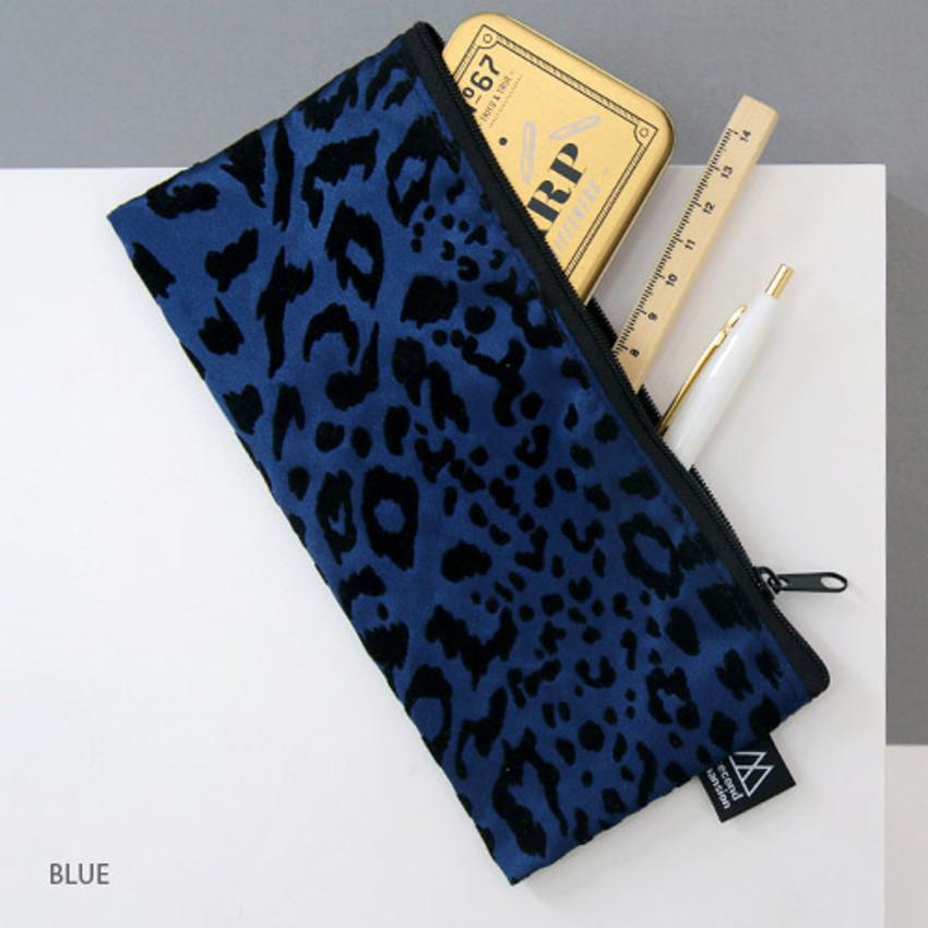 Blue - Leopard pattern zipper pencil case