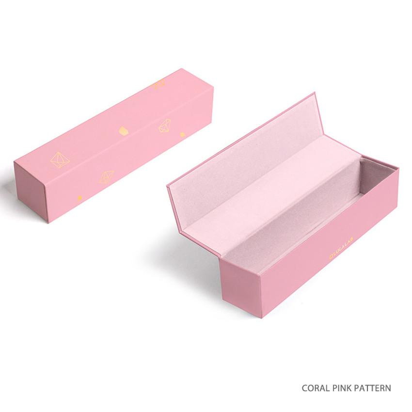 Coral pink pattern - Lapis spring edition paper pen case box