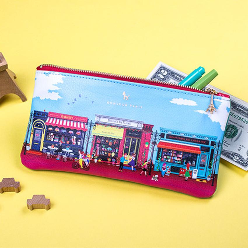 Paris multi zipper pencil pouch