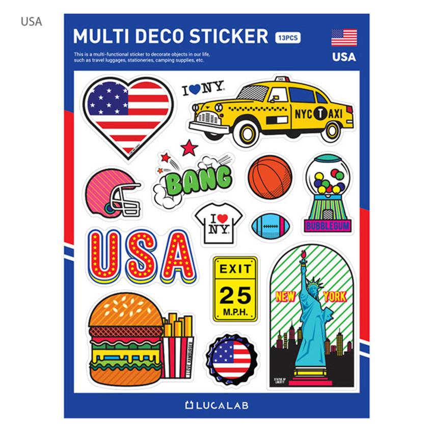 USA - Travel multi deco paper sticker