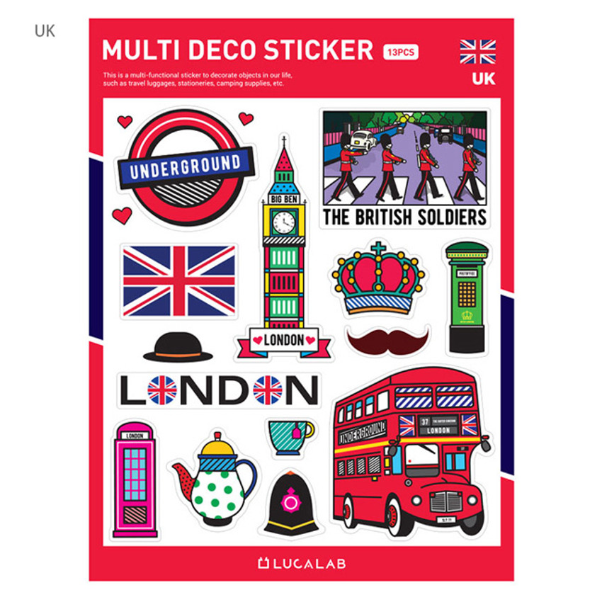 UK - Travel multi deco paper sticker