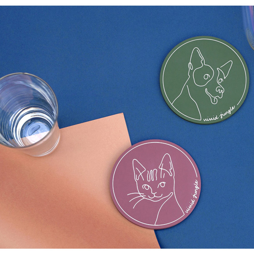 Vivid drawing puppy and cat PVC coaster