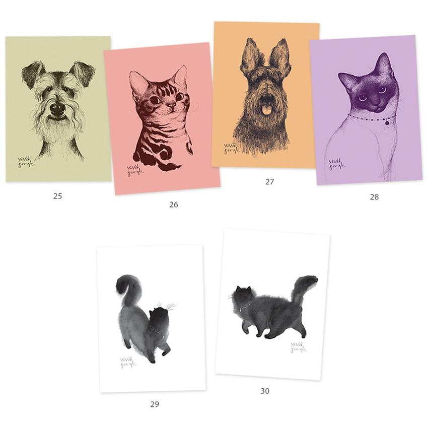 Vivid cat and puppy illustration postcard - D