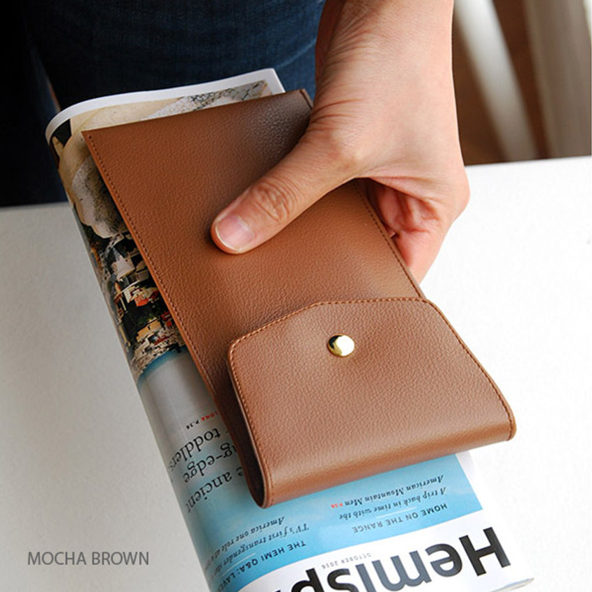 Mocha brown - Extra pocket pencil case with snap button