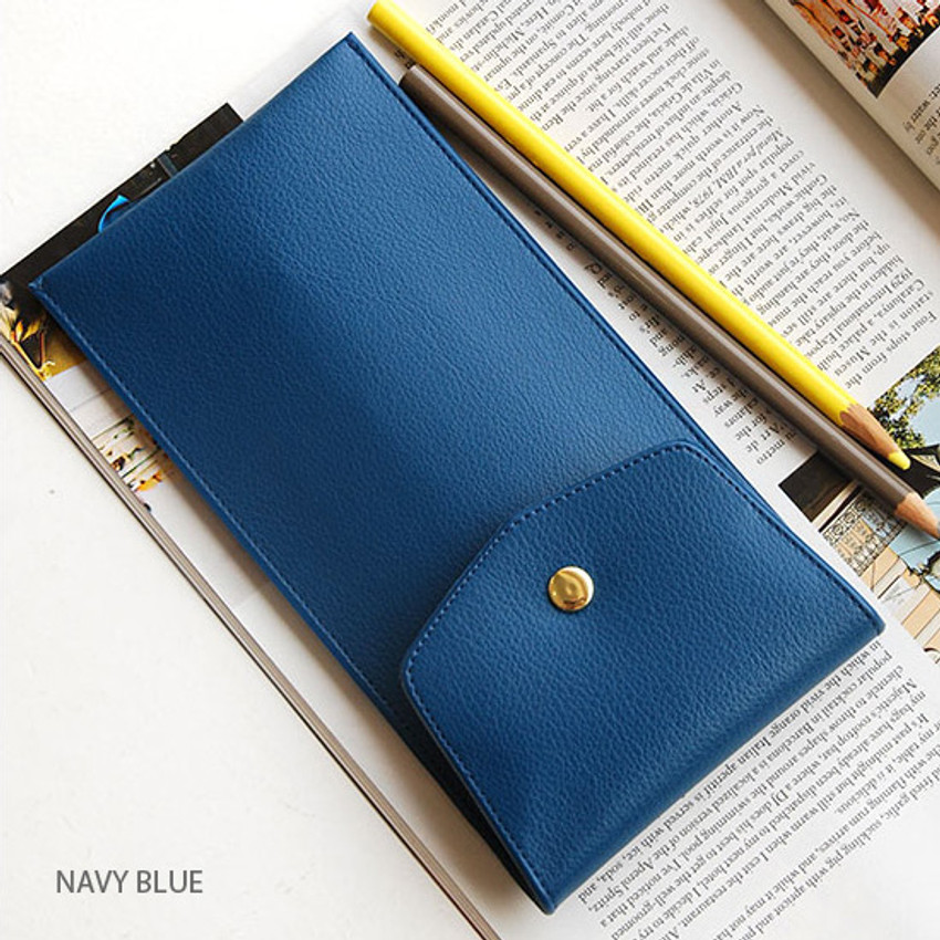 Navy blue - Extra pocket pencil case with snap button