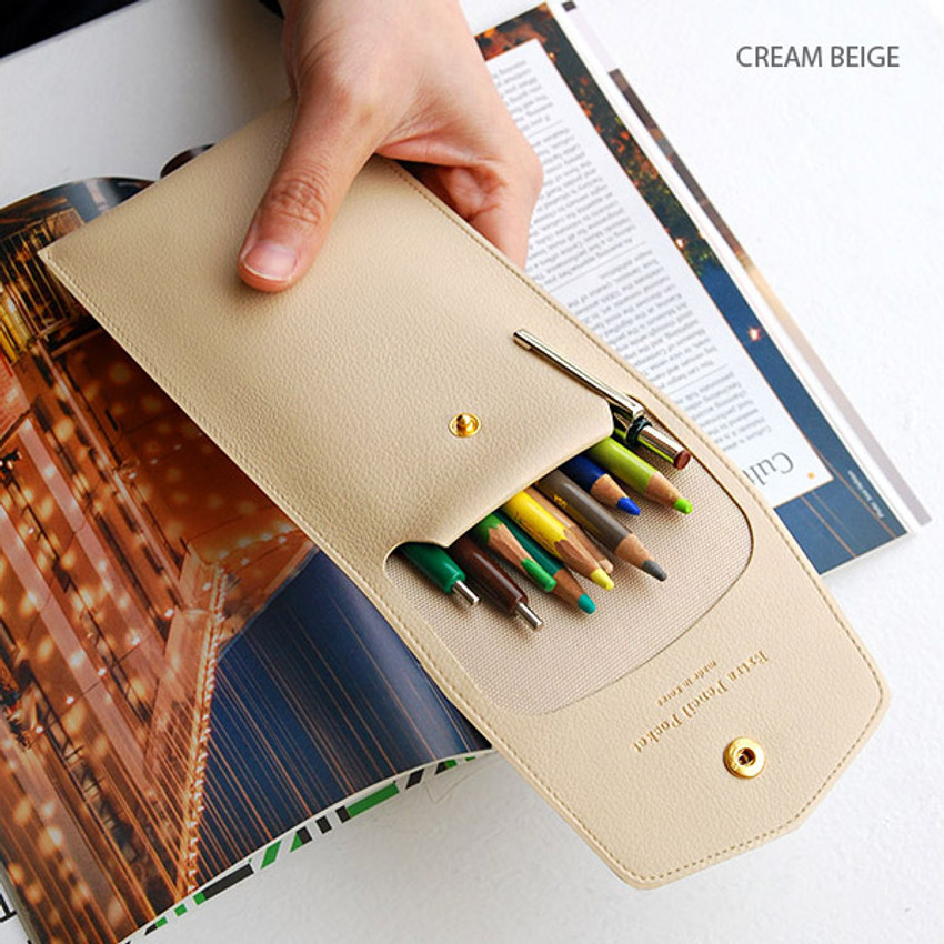 Cream beige - Extra pocket pencil case with snap button