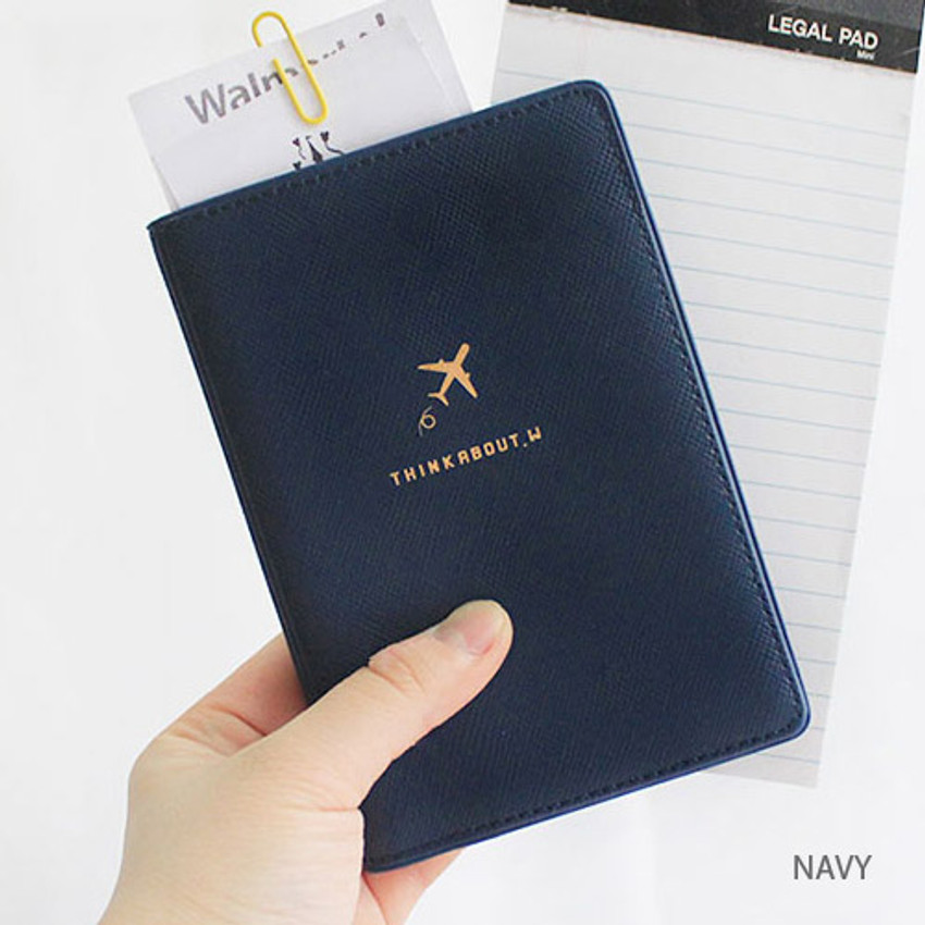 Navy - Think about soft RFID blocking passport cover