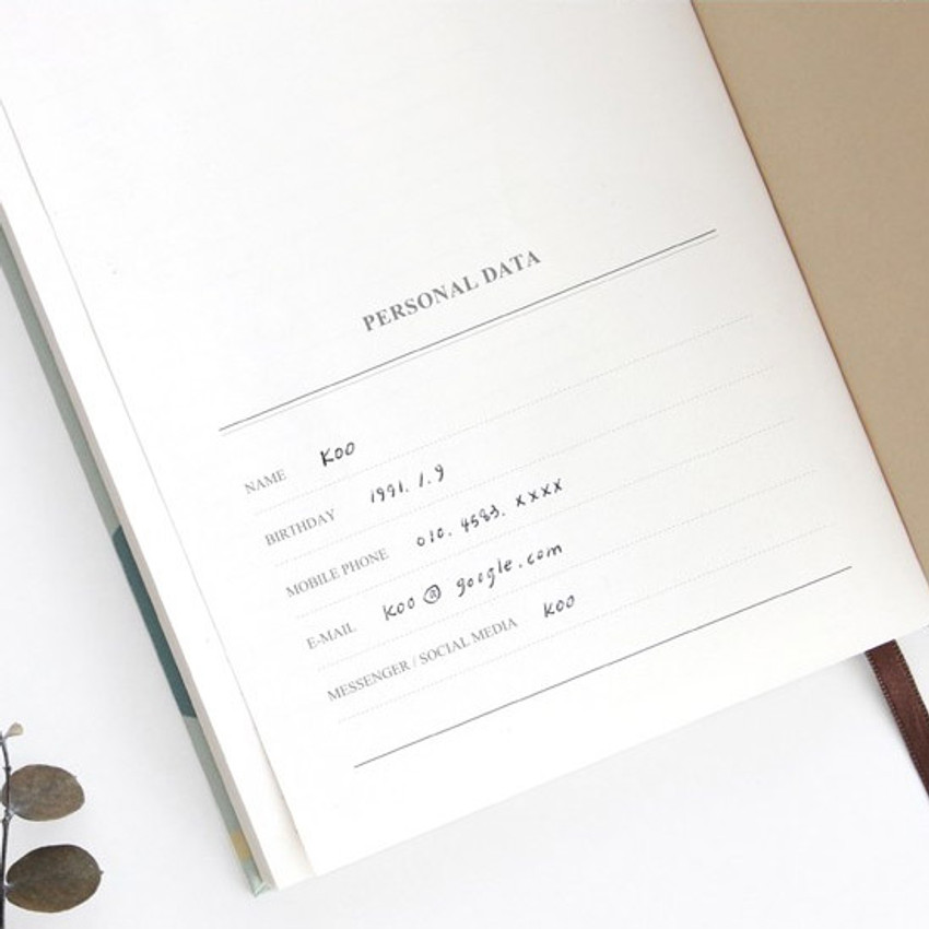 Personal data - Pattern classic hardcover lined notebook
