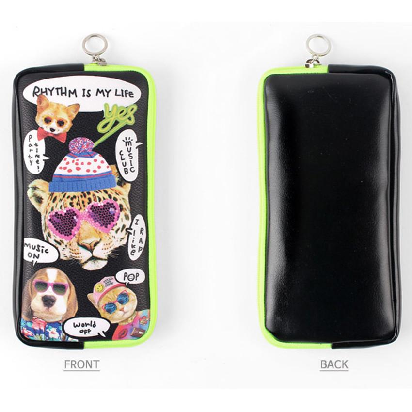 Pop animals - Fashionable animal square zipper pen case