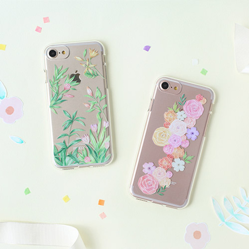 Flower pattern clear TPU iPhone 7 soft case