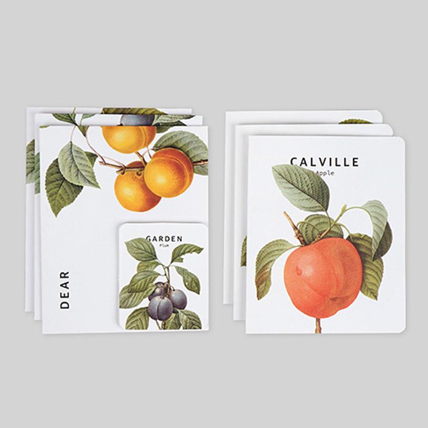 Vintage fruits illustration card set