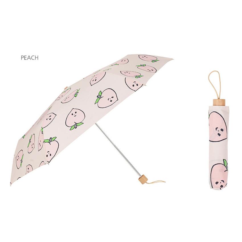 Peach - Life studio compact foldable pattern umbrella