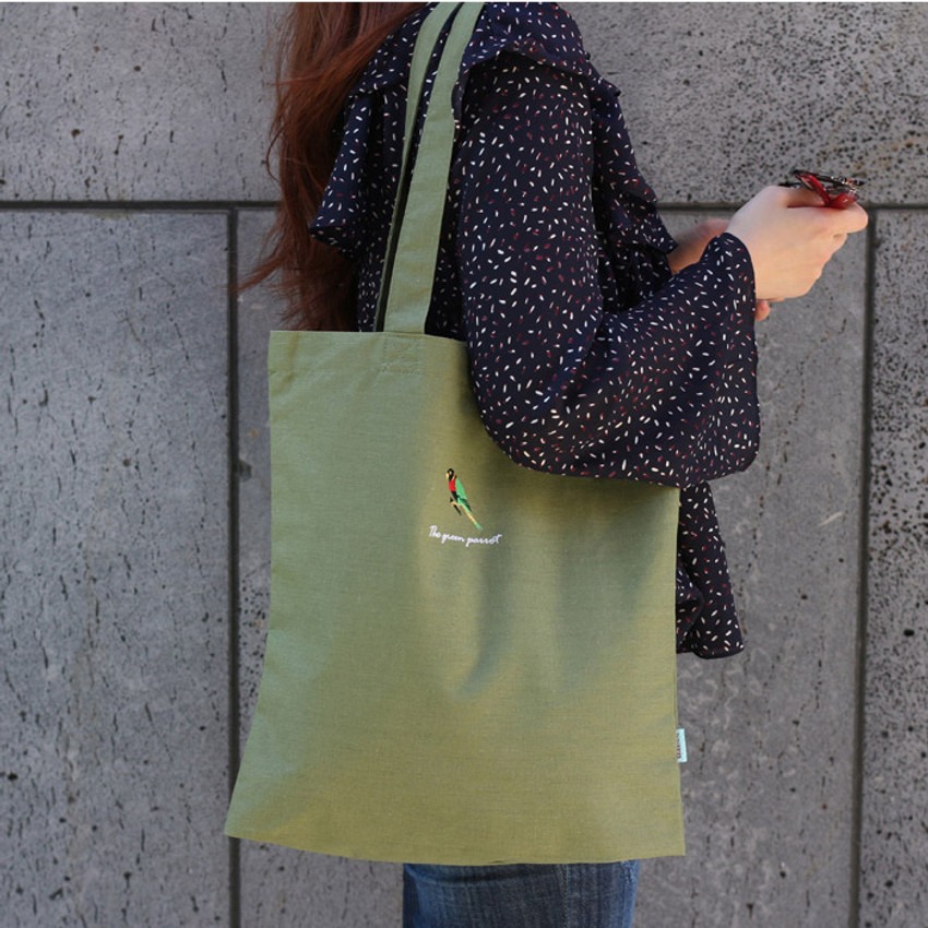 Parrot - Tailorbird animal space shoulder tote bag