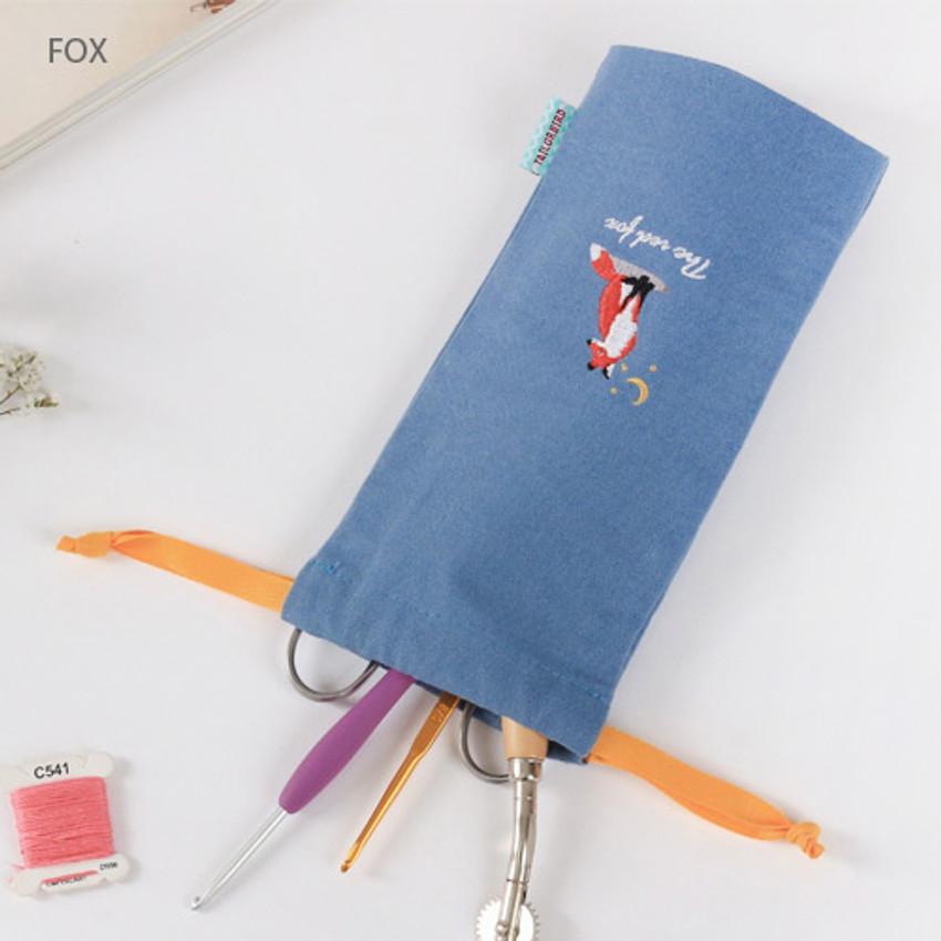 Fox - Tailorbird animal long drawstring pouch