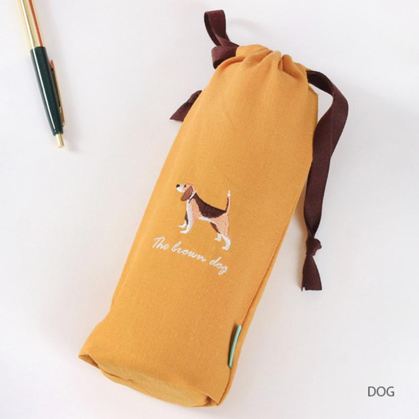Dog - Tailorbird animal long drawstring pouch