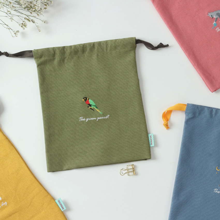 Tailorbird animal medium drawstring pouch