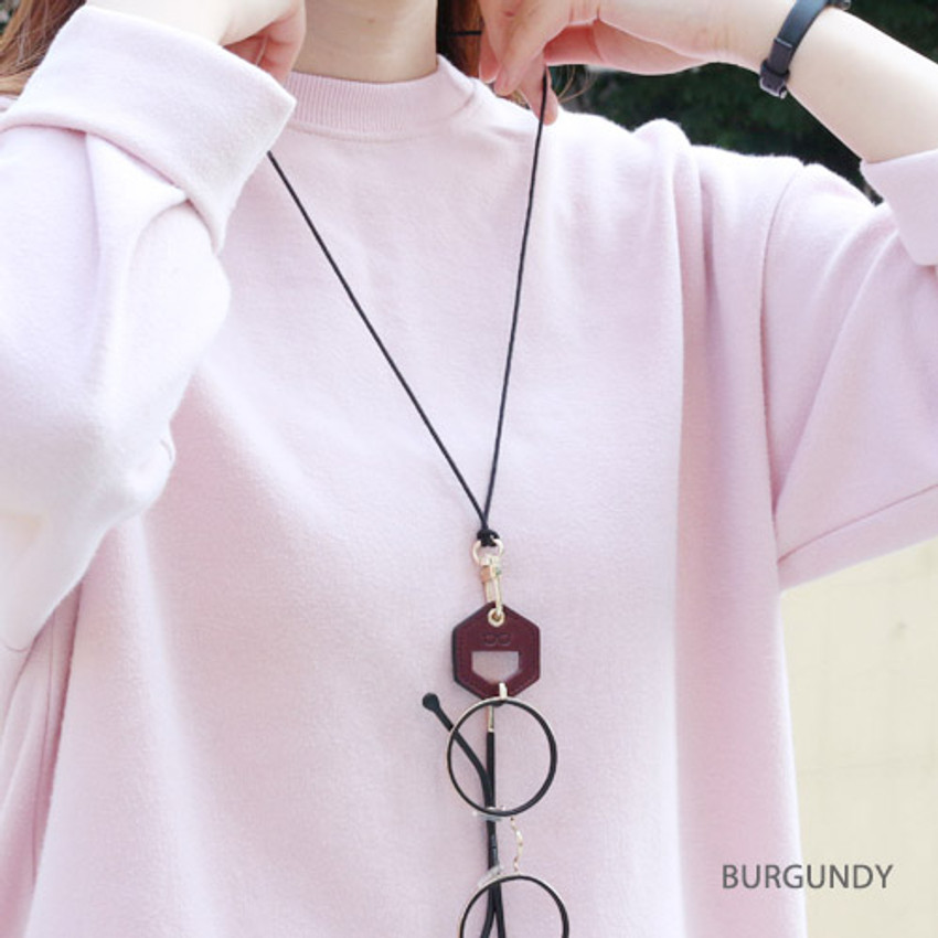 Burgundy - The Classic leather sunglasses necklace
