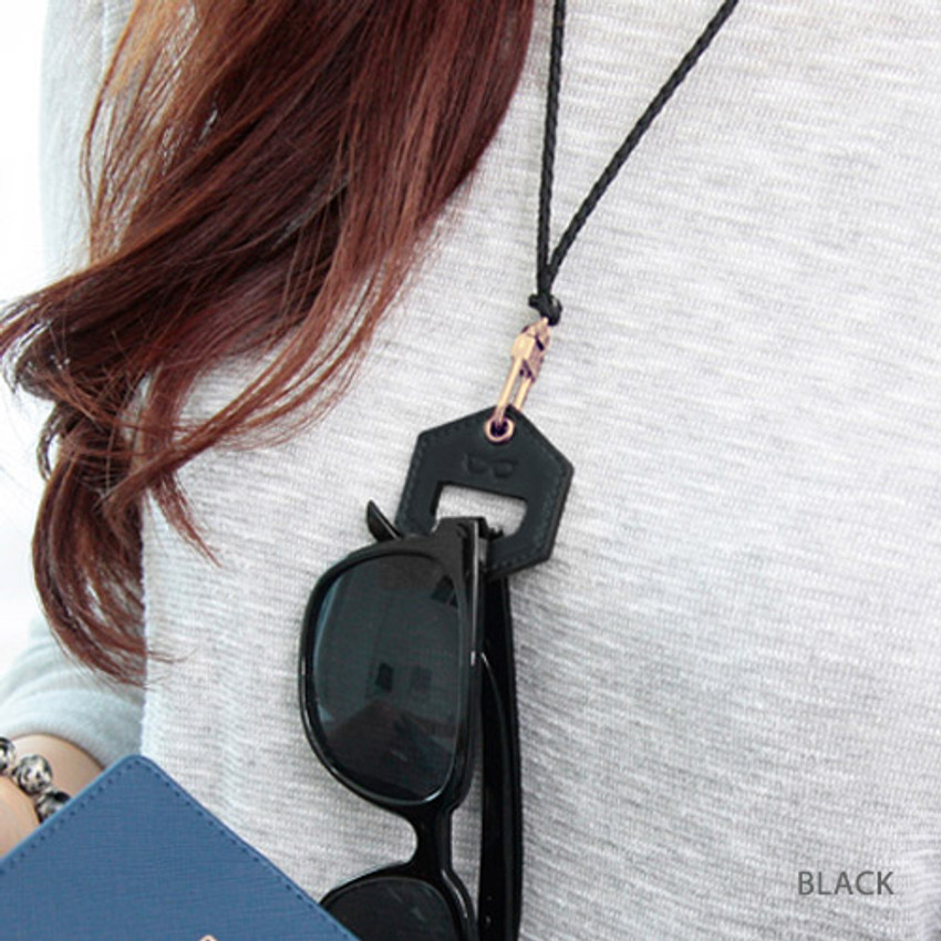 Black - The Classic leather sunglasses necklace