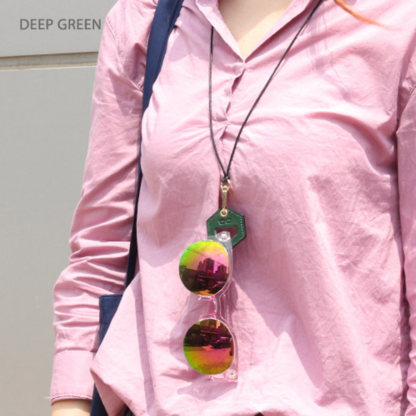Deep green - The Classic leather sunglasses necklace