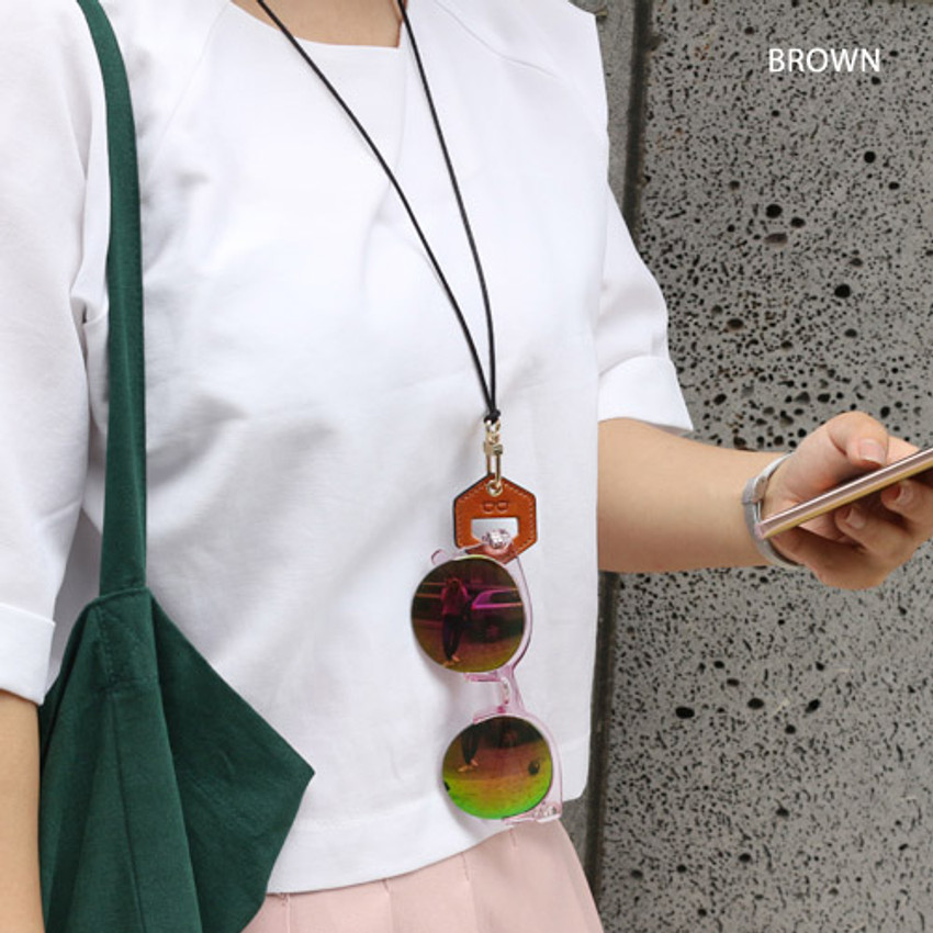 Brown - The Classic leather sunglasses necklace