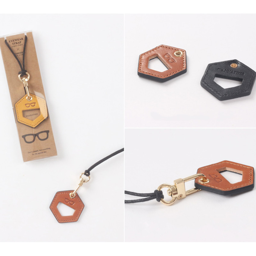 Detail of The Classic leather sunglasses necklace