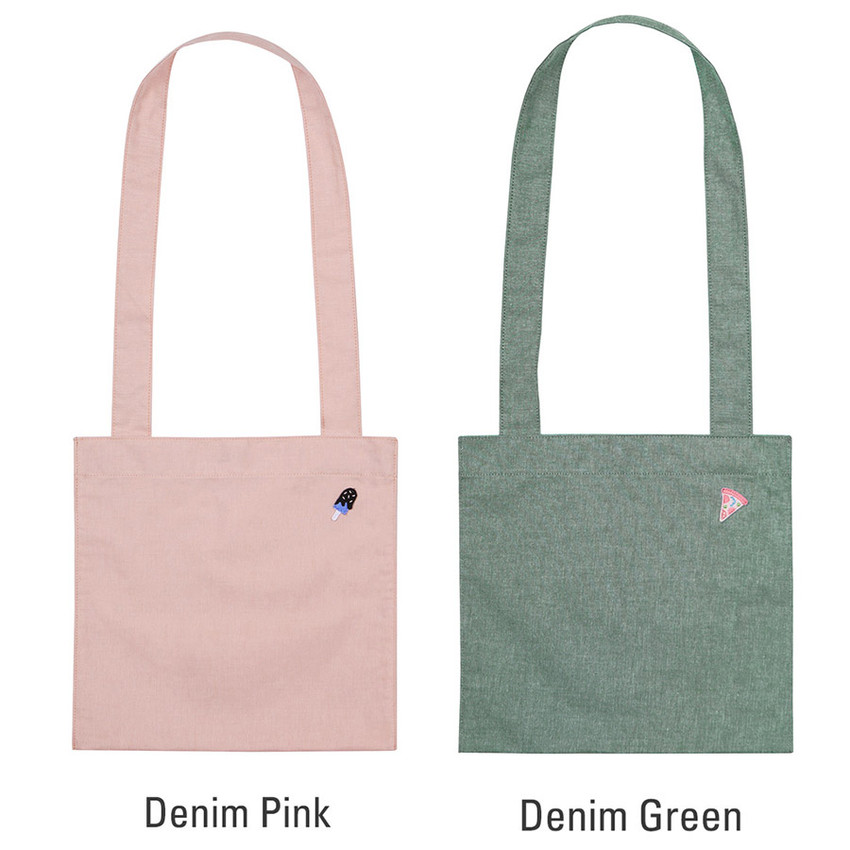 Pink, Green - Tropical travel cotton shoulder bag