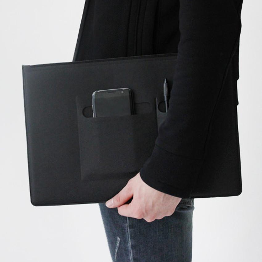Black - Premium business flat multi zipper pouch