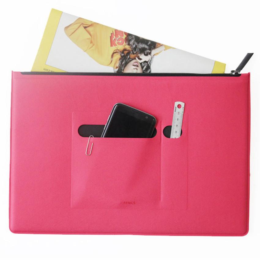 Pink - Premium business flat multi zipper pouch