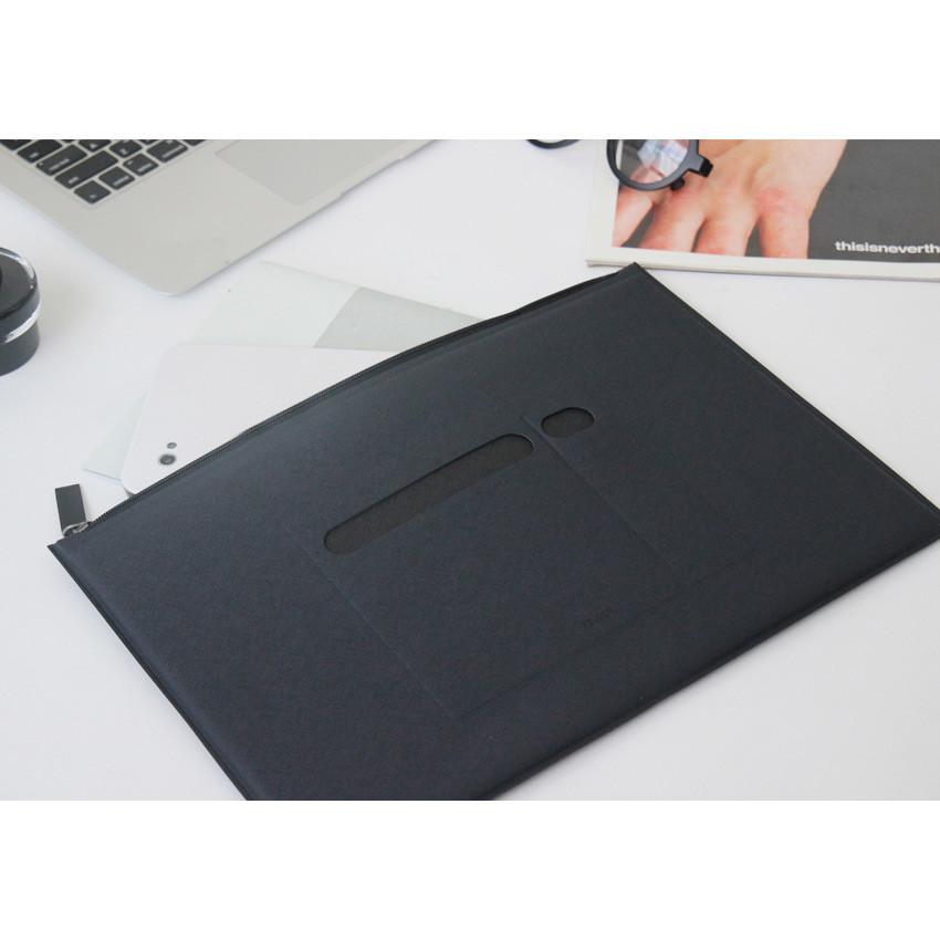 Navy - Premium business flat multi zipper pouch