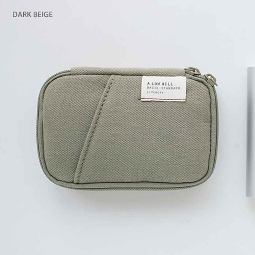 Dark beige - A low hill zip around pocket small pouch
