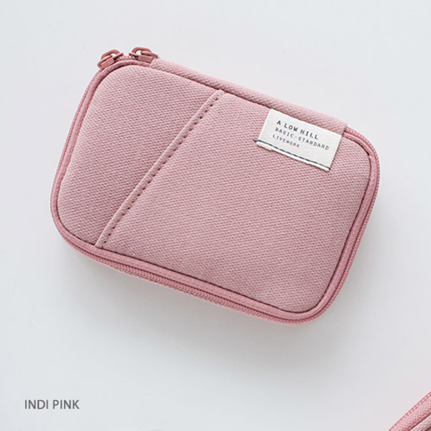 Indi pink - A low hill zip around pocket small pouch