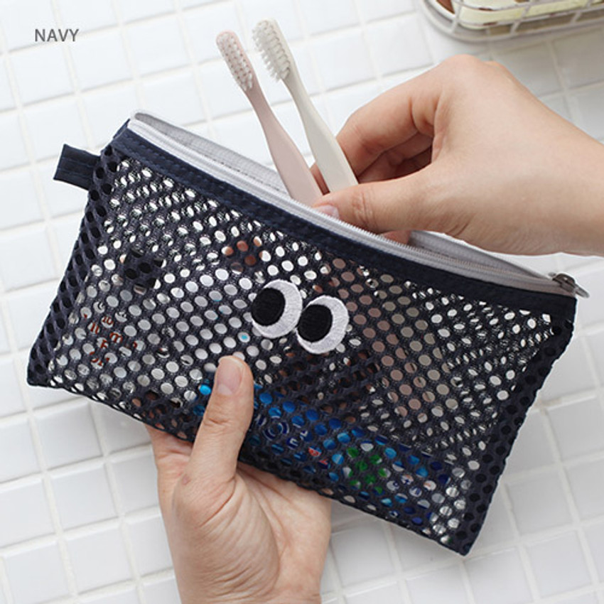 Navy - Som Som stitch mesh zipper pouch