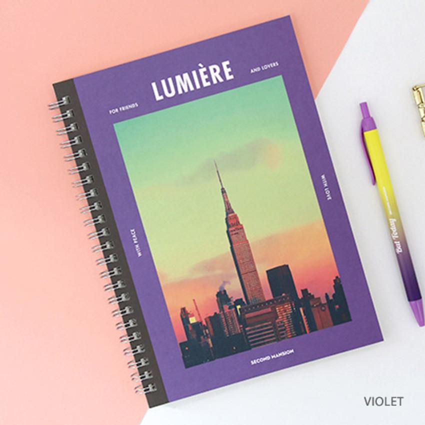 Violet - Spiral 1/4 grid notebook