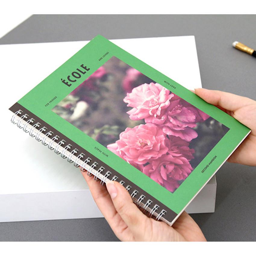 Moss green - Spiral 1/4 grid notebook