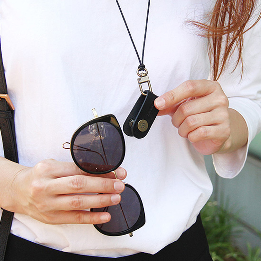 Black - Snap button leather sunglasses necklace