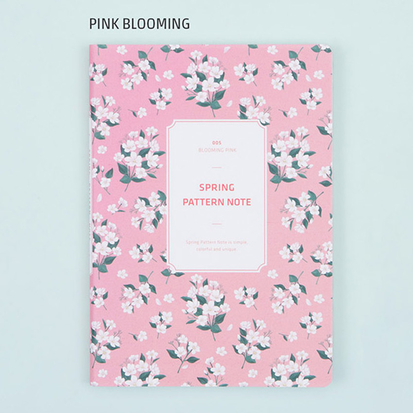 Pink blooming - Colorful spring pattern lined notebook