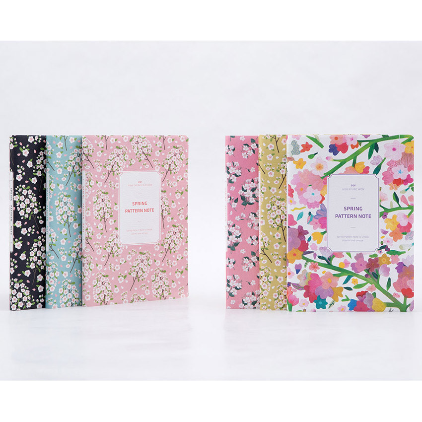Colorful spring pattern lined notebook