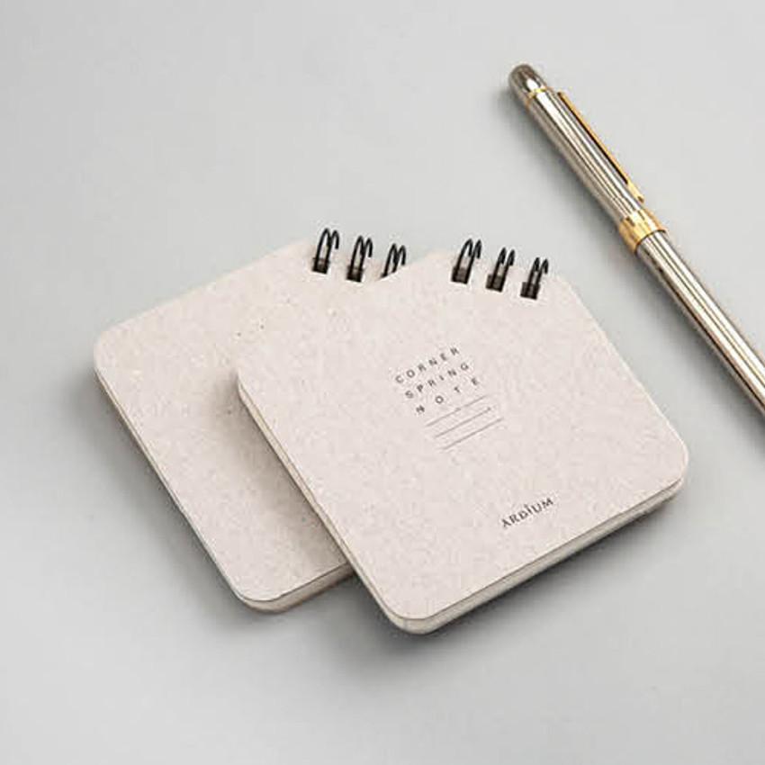 Gray - Corner mini spiral lined/grid notebook