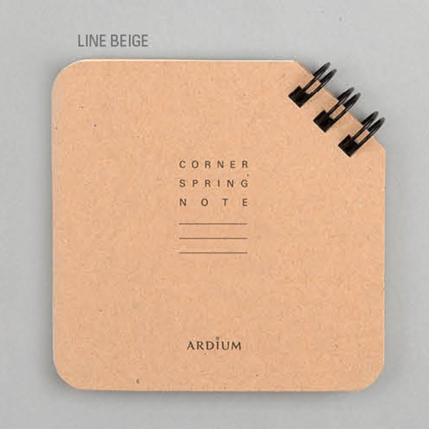 Line beige - Corner mini spiral lined notebook