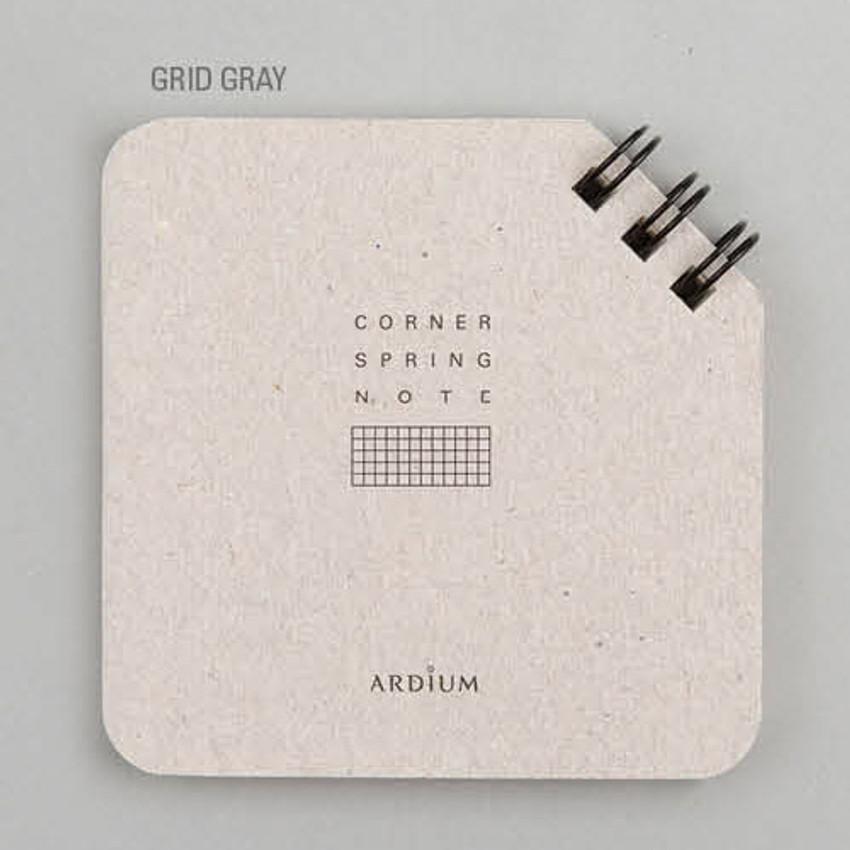 Grid gray - Corner mini spiral lined/grid notebook