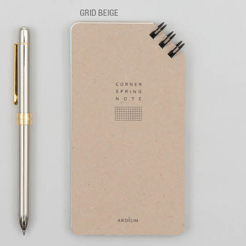 Grid beige - Corner small spiral lined/Grid notepad