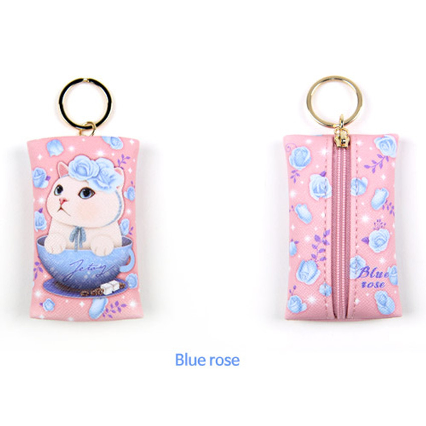 Blue rose - Choo Choo petit key ring with small zippered case